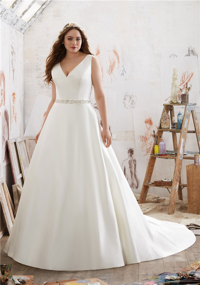 A line v neck satin plus size wedding dress for Plus size silk wedding dresses