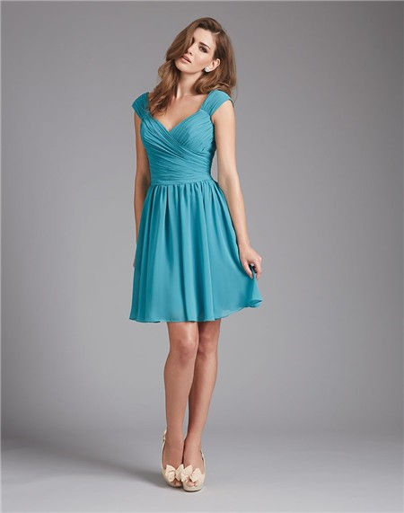A Line V Neck Short Teal Blue Chiffon Ruched Wedding Guest ...