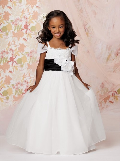 A line princess floor length white organza flower girl dress with a line princess floor length white organza flower girl dress with flowers black sash mightylinksfo