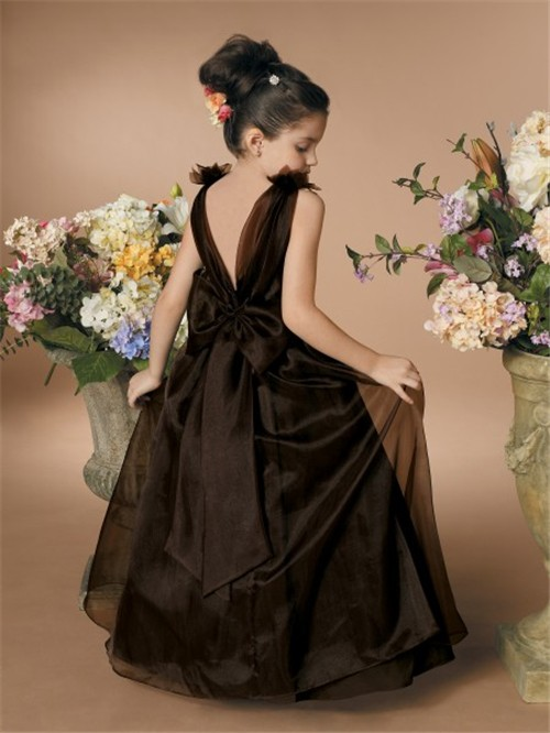 A Line Princess Scoop Floor Length Brown Organza Flower