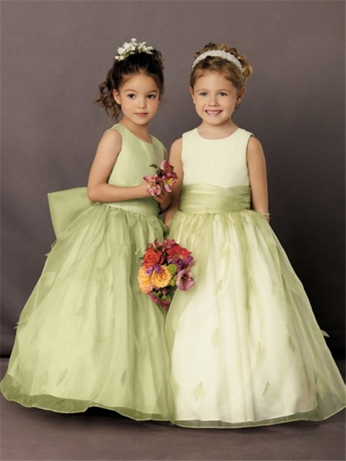 line Princess Scoop Floor Length Green Organza Petal Flower Girl ...