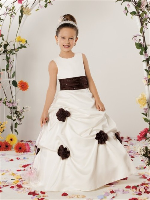 line Princess Scoop Floor Length Ivory Satin Designer Flower Girl ...