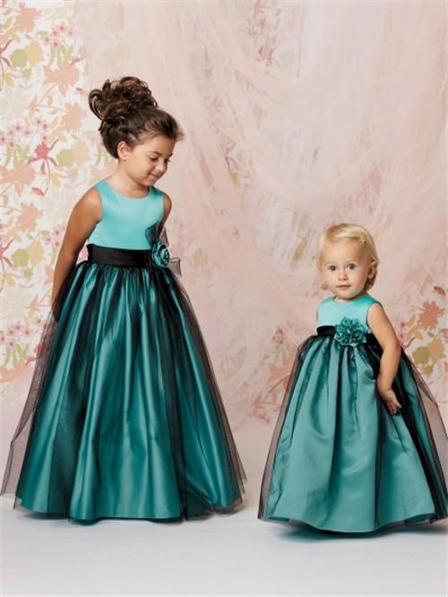 line Princess Scoop Floor Length Turquoise Taffeta Tulle Flower ...