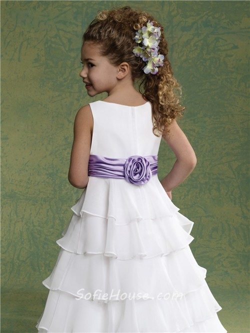 a line princess scoop floor length white chiffon tiered flower girl dress with sash. Black Bedroom Furniture Sets. Home Design Ideas