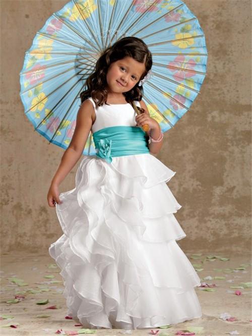 line Princess Scoop Floor Length White Organza Designer Flower ...