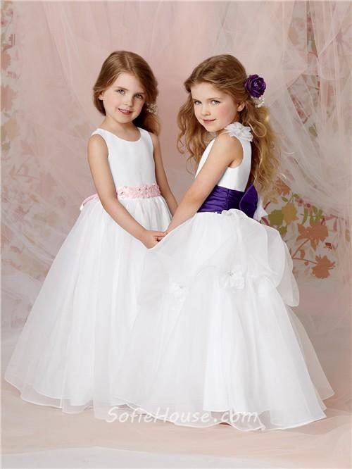 A-line Princess Scoop Floor Length White Organza Flower Girl Dress ...