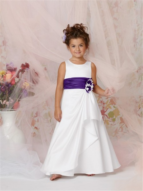 A line princess scoop floor length white taffeta flower girl dress a line princess scoop floor length white taffeta flower girl dress with flowers purple sash mightylinksfo