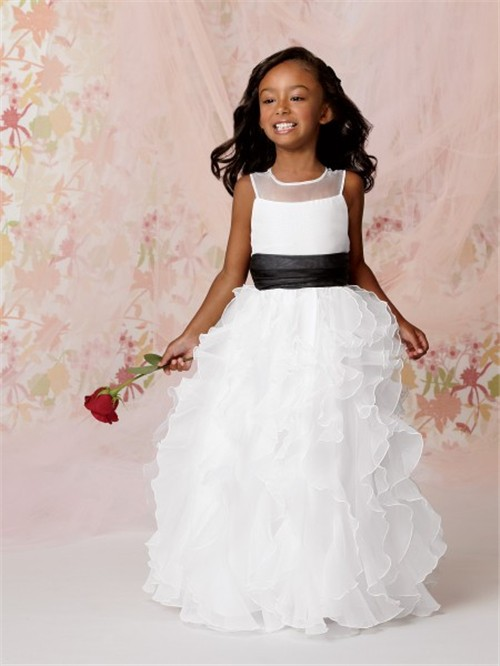 A line princess scoop floor length white organza flower girl dress a line princess scoop floor length white organza flower girl dress with ruffles black sash mightylinksfo