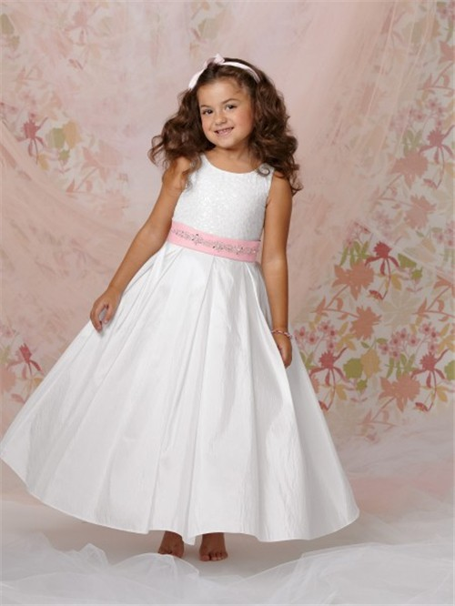 line Princess Scoop Long White Taffeta Flower Girl Dress With Pink ...