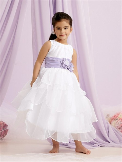 A line princess scoop tea length white organza flower girl dress a line princess scoop tea length white organza flower girl dress with purple flowers sash mightylinksfo