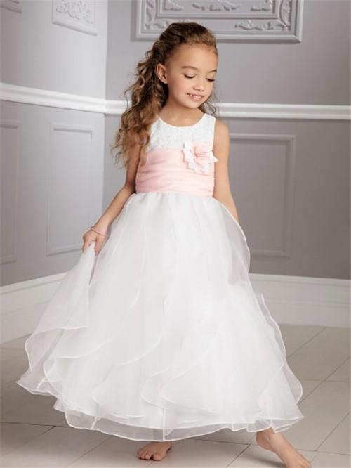 A line princess scoop tea length white organza wedding flower girl a line princess scoop tea length white organza wedding flower girl dress with pink sash mightylinksfo