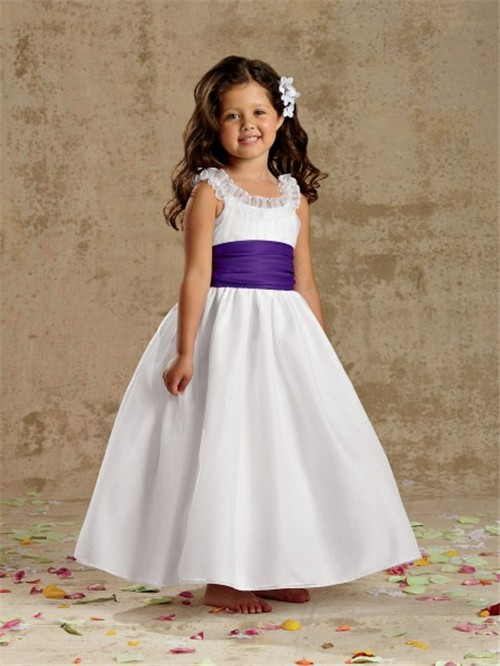 A Line Princess Scoop Tea Length White Taffeta Wedding Flower Girl Dress With Sash