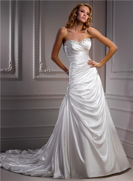 A line sweetheart corset back draped satin wedding dress for Satin a line wedding dress