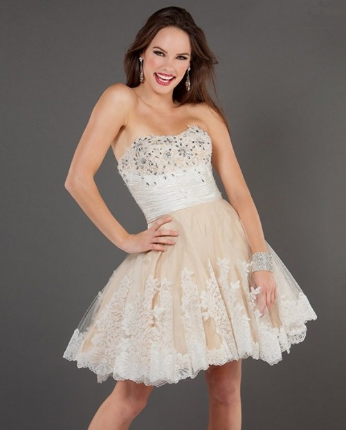 line Sweetheart Short/Mini Nude/Ivory Beaded Party Cocktail Dress ...