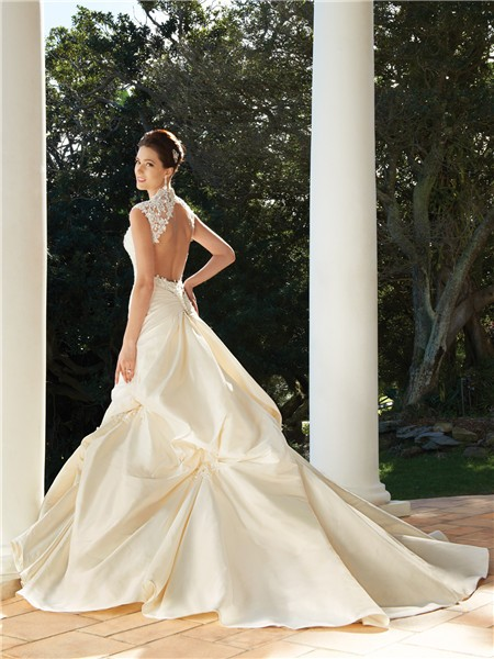 A line cap sleeve chapel train backless champagne wedding for Chapel train wedding dresses