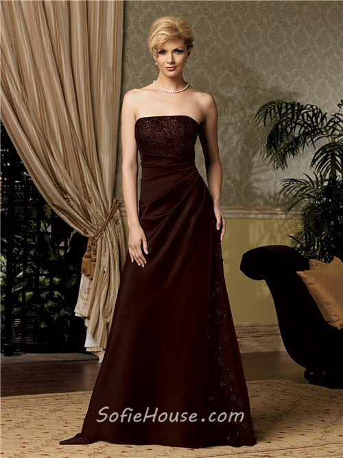 A line long chocolate brown satin mother of the bride dress with ...