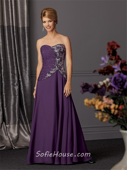 A line long purple chiffon beaded mother of the bride for Mama s fish house dress code