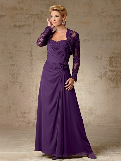 line long purple chiffon mother of the bride dress with lace jacket