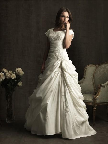 A line square chapel train short sleeves pick up skirt wedding dress