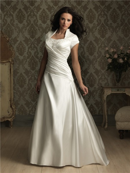 line square court train cap sleeve silk satin wedding dress