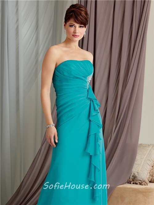 A line strapless floor length turquoise chiffon mother of the ...