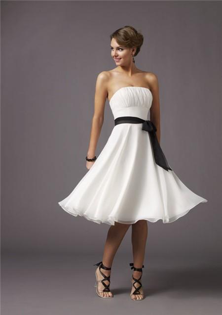 line strapless knee length white chiffon bridesmaid dress with sash