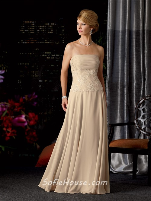 A line strapless long champagne chiffon lace mother of the bride ...