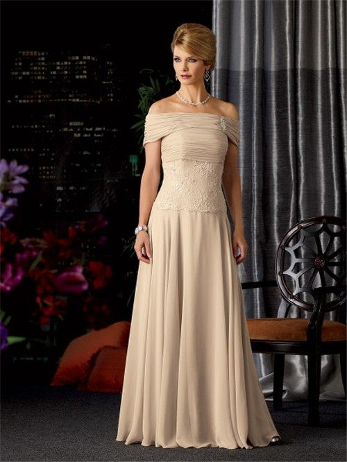line strapless long champagne chiffon lace mother of the bride ...