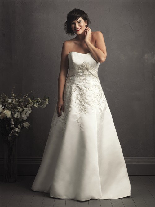 A line sweetheart court train designer royal embroidery for Free plus size wedding dress catalogs