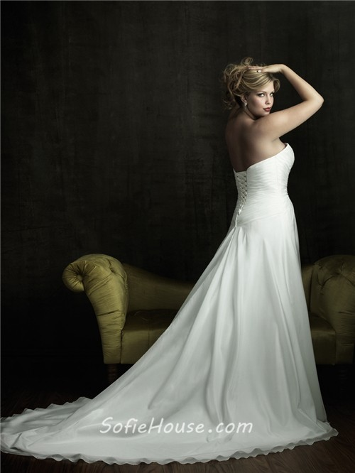 A line sweetheart court train designer simple plus size for Designer wedding dresses plus size