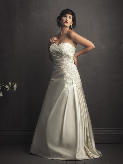 A line sweetheart designer ivory satin lace wedding for Plus size silk wedding dresses