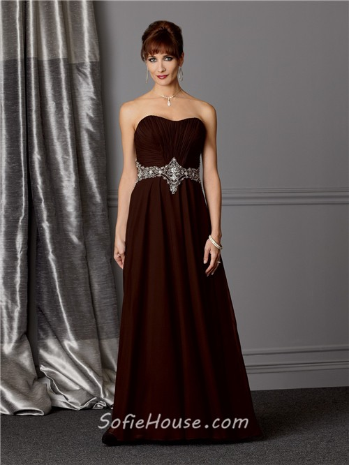 A line sweetheart long brown chiffon Mother of the bride dress ...
