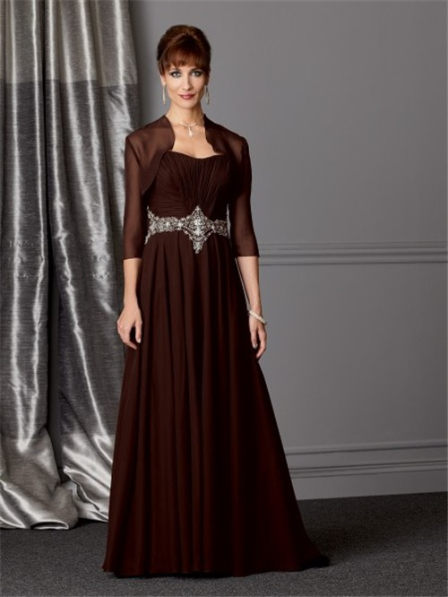 line sweetheart long brown chiffon Mother of the bride dress with ...