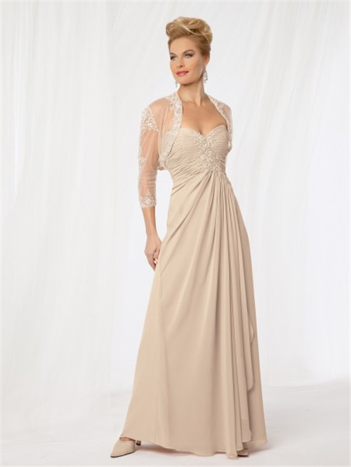 line sweetheart long champagne chiffon Mother of the bride dress ...