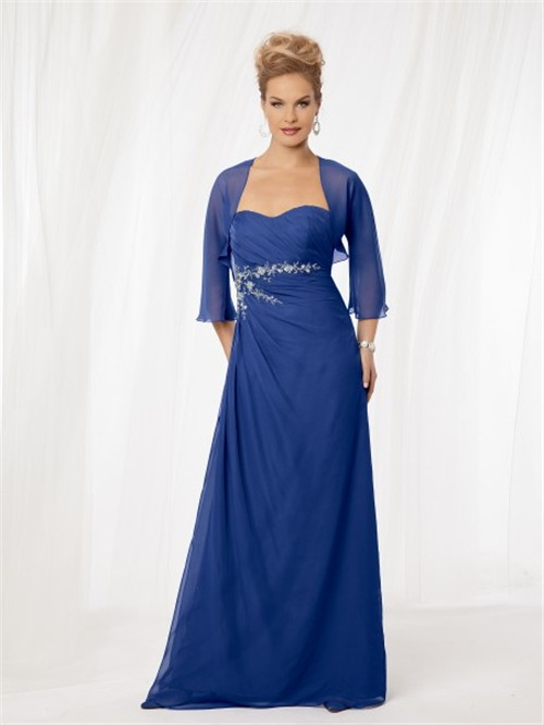 line sweetheart long royal blue chiffon mother of the bride dress ...