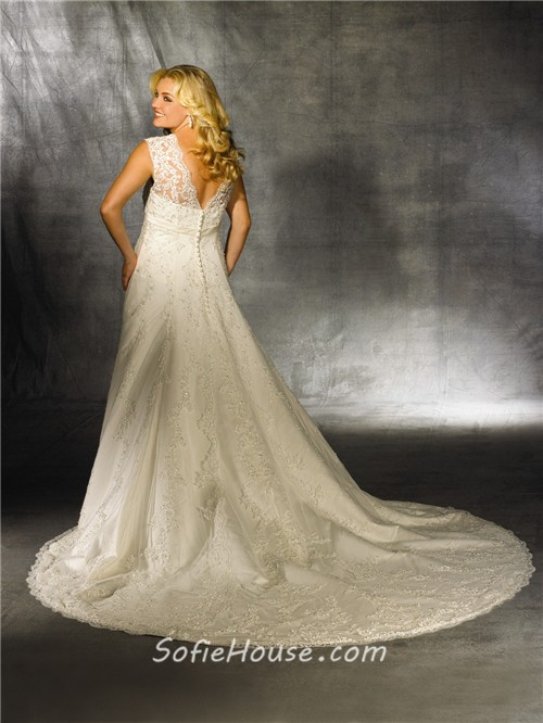 A line sweetheart modest vintage lace wedding dress for plus size ...