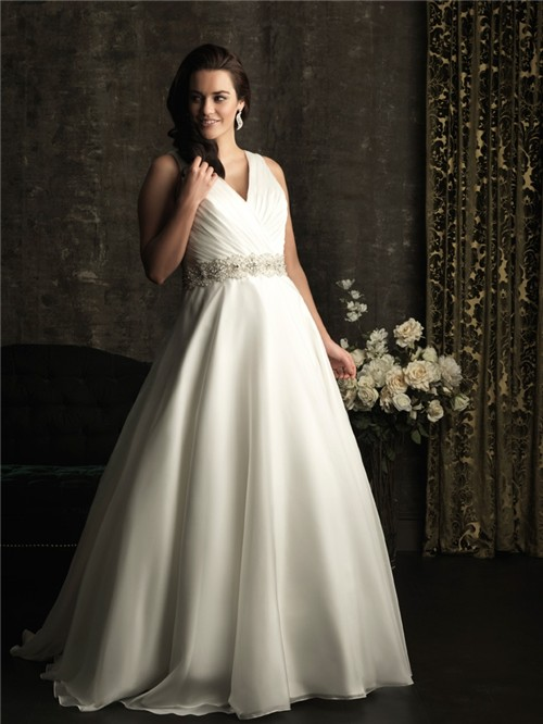 A line v neck chapel train organza plus size wedding dress for Free plus size wedding dress catalogs