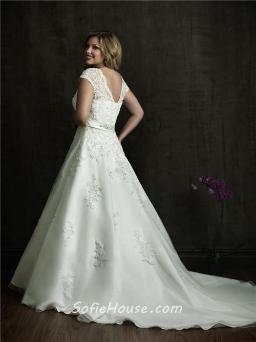 A line v neck court train modest designer lace plus size for Modest wedding dress designers