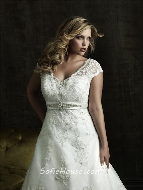 A line v neck court train modest designer lace plus size wedding ...