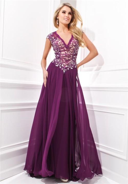 Amazing V Neck Cap Sleeve Drop Waist Long Purple Chiffon
