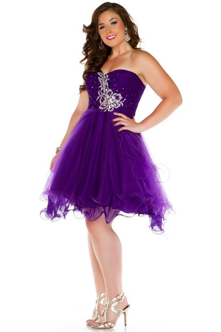 Gowm Strapless Short Purple Tulle Beading Plus Size Party Prom Dress