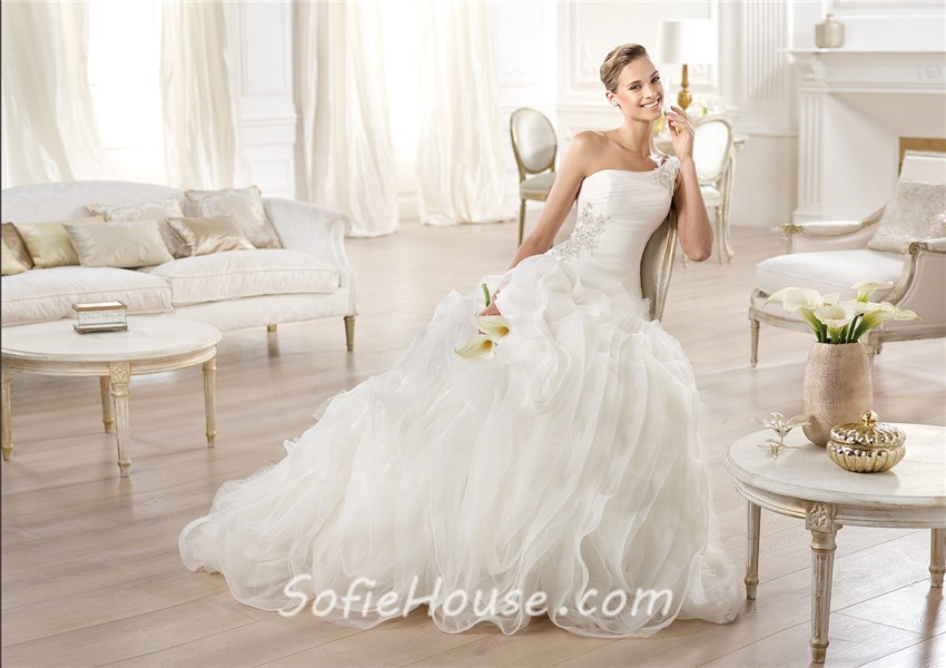Ball Gown Asymmetrical One Shoulder Chiffon Draped Tulle Wedding ...