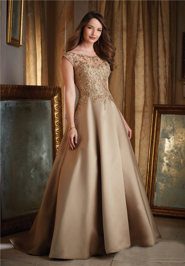 Gown Boat Neck Cap Sleeve Gold Satin Lace Beaded Evening Prom Dress