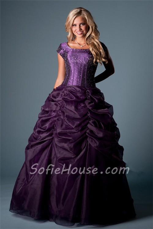 Gown Cap Sleeve Dark Purple Organza Corset Prom Dress Pick Up Skirt