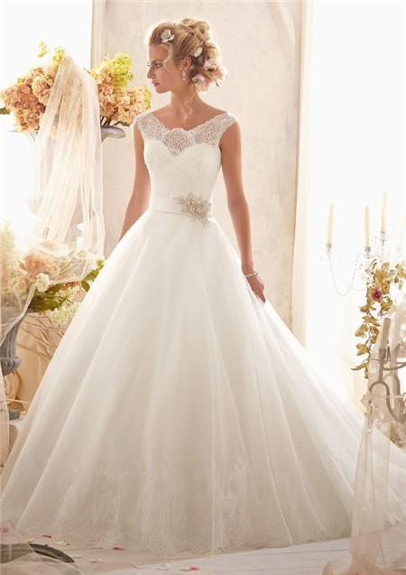 Gown Cap Sleeve Illusion Back Tulle Lace Wedding Dress With ...