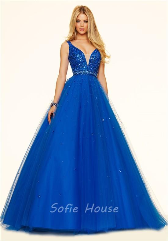 eb69eab3f1 ... Ball Gown Deep V Neck Royal Blue Tulle Beaded Prom Dress ...