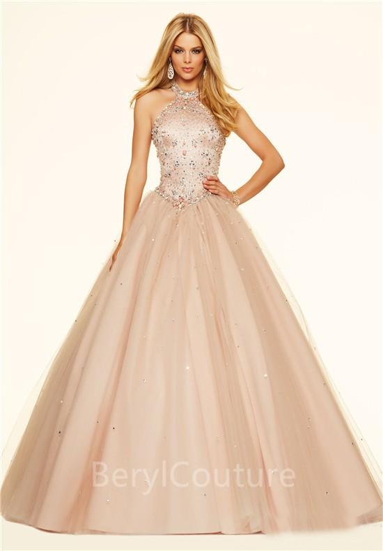Ball Gown Halter Drop Waist Corset Ligh Pink Tulle Beaded Prom Dress