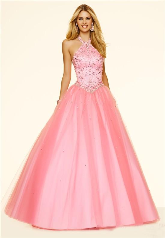 Ball Gown Halter Drop Waist Corset Ligh Pink Tulle Beaded