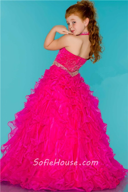 Ball Gown Halter Hot Pink Ruffle Beaded Cute Little Flower Girl ...