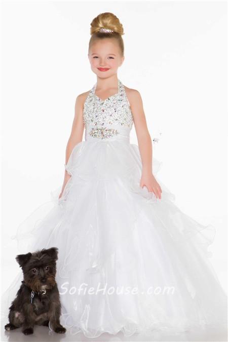 Ball Gown Halter Long Turquoise Ruffle Beading Little Flower Girl ...